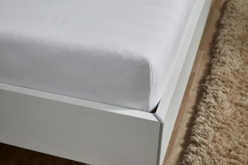 Jersey-Spannbettlaken TAUPO100% GOTS Baumwolle - weiß ca. 160 g/qm, Gummizug rundum